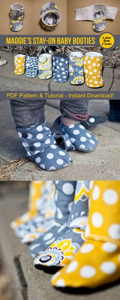 Maggie's Stay-On Baby Booties Sewing Tutorial Printable PDF Baby Sewing Patterns Instant Download DIY Baby Gift Downloadable Boot Baby Shoes #babybooties #stayonbabybooties #ad