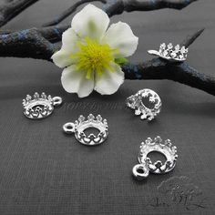 2pcs 925 Sterling Silver Gallery Crown Bezel Pendant for by AoryNL