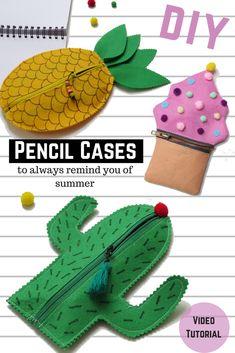 DIY Pencil Cases: Cactus, Pineapple and Cupcake – New Video Tutorial. Easy DIY for Back to School 2017 DIY Pencil Cases: Cactus, Pineapple and Cupcake – New Video Tutorial. Easy DIY for Back to School 2017 Christmas Craft Projects, Christmas Activities, Diy Pencil Case, Pencil Cases, Makeup Black, First Sewing Projects, Halloween Favors, Diy School Supplies, Kawaii