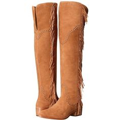 Frye Ray Fringe Over-The-Knee (Camel Suede) Women's Boots (30.940 RUB) ❤ liked on Polyvore featuring shoes, boots, ankle boots, over-knee boots, over the knee boots, suede thigh high boots, short fringe boots and thigh high boots