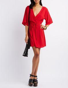 Red Kimono Sleeve Surplice Dress by Pixie + Diamond