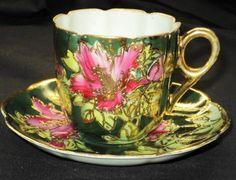 ٠•●●♥♥❤ஜ۩۞۩ஜஜ۩۞۩ஜ❤♥♥●●  Antique Japan Encrust-Raised Signed  Tea cup and saucer  ٠•●●♥♥❤ஜ۩۞۩ஜஜ۩۞۩ஜ❤♥♥●●