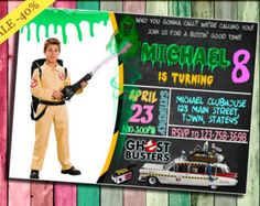 Ghostbusters Birthday Party Invitation for any age by PartyChickie