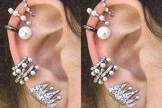 Classy Ear Piercing Ideas for Women - Pearl Fancy Ear Cuff Earrings Cartilage Helix Conch Earlobe - Fashion Statement Jewelry - joyería de ideas de perforación de oreja elegante - www.MyBodiArt.com