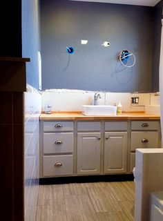 Butcher Block Bathroom Countertop. Sharing Our Trails And Tribulations Of Installing A Butcher Block Countertop In Our Master Bathroom Vanity