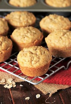 Baked Oatmeal Muffins on Cooling Rack Image