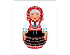 Shop Czech Girl Matryoshka Postcard created by AmyPerrotti. Wall Art Prints, Framed Prints, Matryoshka Doll, Art Wall Kids, Oeuvre D'art, Art Girl, Les Oeuvres, Etsy, Artwork
