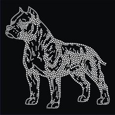 American Pit Bull Terrier Iron on Rhinestone Patch.