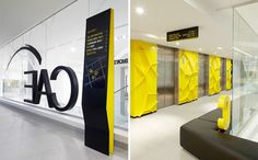CAE by Fabio Ongarato Design. What a creative wayfinding design! Love how it incorporates the theme colors so creatively.