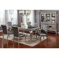 28e5bf9c4b Furniture of America Valencia 7-Piece Champagne Gold Dining Table with Leaf  Set Dining Table