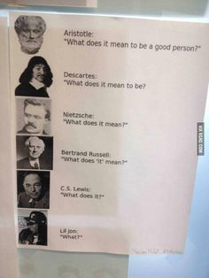 Philosophy has been losing its essence // funny pictures - funny photos - funny images - funny pics - funny quotes - The Last Laugh, Have A Laugh, Funny Images, Funny Photos, History Of Philosophy, Philosophy Major, Philosophy Memes, Famous Quotes, Just In Case