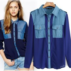 Find More Blouses & Shirts Information about free shipping sale spring 2015 brand chiffon patchwork denim shirt women tops jeans shirts women blouses causal lapel blouse,High Quality blouse batik,China blouse black Suppliers, Cheap blouse white from Mercy Store on Aliexpress.com