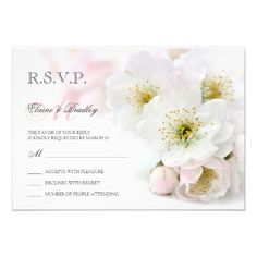 Spring Wedding RSVP Reply Card With Pink Blossom #Floral #RSVP #Spring #Wedding