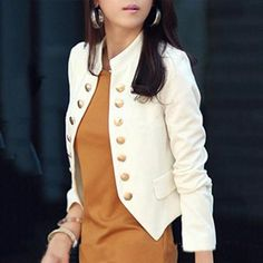 Ladylike Double Breasted Band Collar Blended Plain Blazer Fashion girls, party dresses long dress for short Women, casual summer outfit ideas, party dresses Fashion Trends, Latest Fashion # Casual Blazer, Blazer Outfits, Blazer Fashion, Dress Outfits, Trench Coats, Rain Coats, Shops, Jacket Brands, Blazer Jacket
