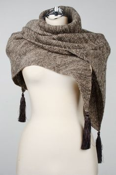 Nine West Kayla Triangle Scarf With Tassels In Cocoa And Natural