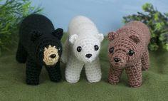 Black Brown & Polar Bears  three amigurumi PDF by PlanetJune