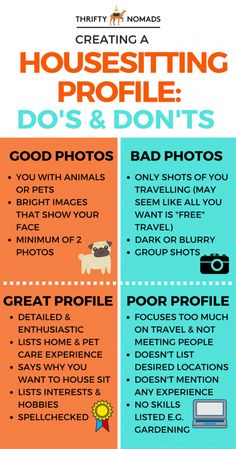 It only takes 3 easy steps to get started housesitting (click for a simple how-to guide). Follow these do's & dont's to ensure you make a great profile!