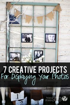 black craft paper background and i LOVE the burlap bunting!! 7 creative projects perfect for displaying your photos!