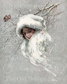 SNOWBIRDS SNOW QUEEN Harrison Fisher Vintage Image for Cardmaking Altered Art Mixed Media Scrapbooking Digital Download