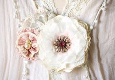 Flower Corsage Pin - Ivory, Pink and Linen Fabric and Lace Blossoms