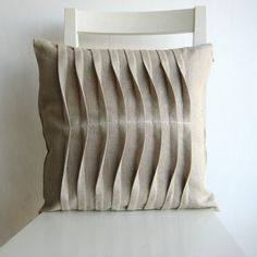Pleated Natural Color 16 X 16 Linen Cusion Cover by pillow1, $21.00