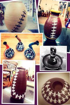 Hand painted pots- Warli Art