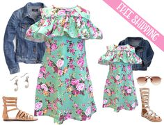 June Mommy & Me Outfit of the Month!  This trendy dress is at a bargain price, starting at just $13.99 with FREE SHIPPING!