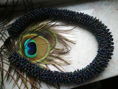 Necklace inspired by peacock feathers made by Manufaktura Leo Peacock Feathers, Leo, Jewelry Making, Inspired, Inspiration, Biblical Inspiration, Jewellery Making, Make Jewelry, Lion