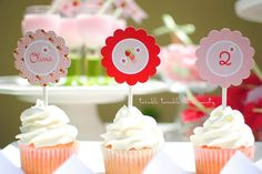 Berry Sweet Picnic Birthday Party Collection    This listing is for a printable Strawberry Birthday Party Cupcake Toppers PDF file - 3
