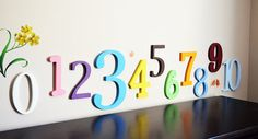 PAINTED Wooden Wall painted Letters Numbers - ABC Wall- Mixed Fonts and Sizes- Room decor- Table numbers