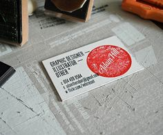 "Have two stamps made. Make your own business cards ""on demand""!  Brilliant."