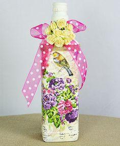 Handmade Decoupage Wine Bottle