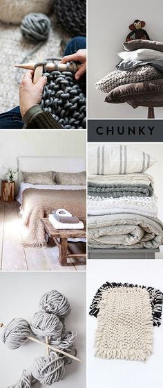 I love chunky knitting yarn in natural colours. It's not cheap to buy but a chunky hand-knitted blanket is a real treasure.