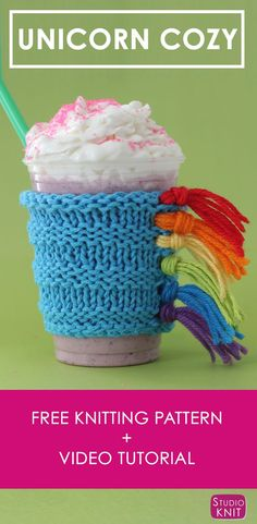 How to Knit a Unicorn Drink Cozy with Studio Knit | Free Knitting Pattern + Video Tutorial via @StudioKnit