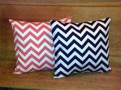 Coral and Navy 16 x 16 inch Chevron Pillows by LinnysPillows, $24.00