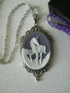 White Unicorn Antique Silver Victorian Necklace by OctoberPetals, $19.75