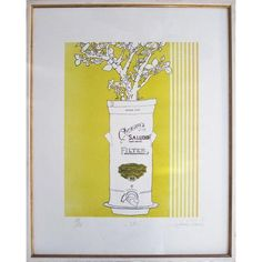 """Vintage Stoneware Serigraph Print -- seller says: """"Numbered serigraph print depicting branches in a stoneware water filter. Inscribed """"O Filtro,"""" signed """"Hubert Ferris,"""" and numbered 10/50."""""""