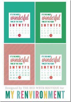 December 2013 Calendar Card Freebies