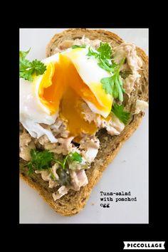 Tuna salad with poached egg