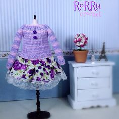 Sold out! 1 piece outfit for Blythe or Pullip size  Knit-top combining with sweet flowery fabric  #knitwear #knitting #dolloutfit #dollaccessories #blythe #pullip #dolls #outfit #wardrobe #handmade #rorrucrochet