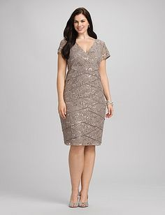 Plus Size | Dresses | Special Occasion Dresses | Plus Size Tiered Sequined Lace Dress
