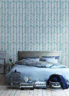 Self adhesive vinyl wallpaper - Chevron pattern print  - 026 WHITE/ TEAL
