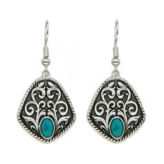 Vintage Turquoise Drops Earrings (ER1166TQ) ($42) ❤ liked on Polyvore featuring jewelry, earrings, cabochon pendant, vintage drop earrings, vintage turquoise earrings, vintage earrings and pendant earrings