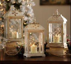 Antique cream wood lanterns
