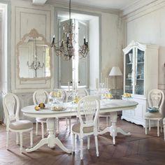 Sedia bianca in lino e legno Anais