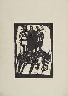 Jerzy Duda Gracz   TRZEJ NA KONIU, Z CYKLU JUDAICA, 1965   drzeworyt, papier   20.5 x 14.3 cm