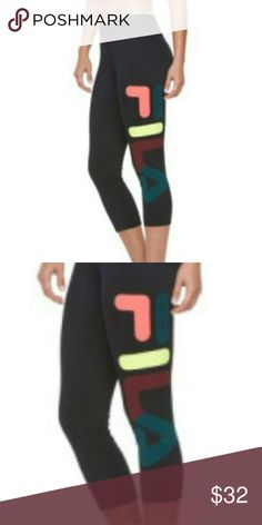 FILA Sport Rainbow Blast Capri Workout Leggings Leggings feature:  Sporty chic capri-length leggings Tru-Dry moisture-wicking technology  Large, colorful FILA Sport logo down the leg  Jacquard waistband FIT Midrise sits above the hip  Fitted from hip to hem Elastic waistband  Fabric & Care Polyester  Machine wash 88% Polyester 12%Spandex Fila Pants