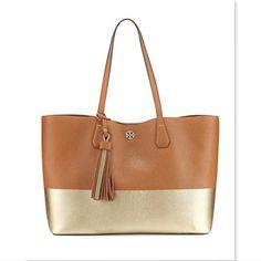 5287ecadd8da TORY BURCH Logo Tan-Gold Leather Tote Handbag Gold Handbags
