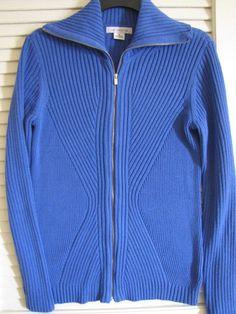LIZ CLAIBORNE Long Sleeve Zip Front Cardigan Blue Sweater Size Med. Ret $50 NWT #LizClaiborne #Cardigan