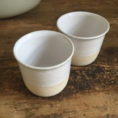 Stoneware water cups in Gloss White glaze, 2015
